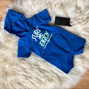 Hurley blue baby hooded shorts romper